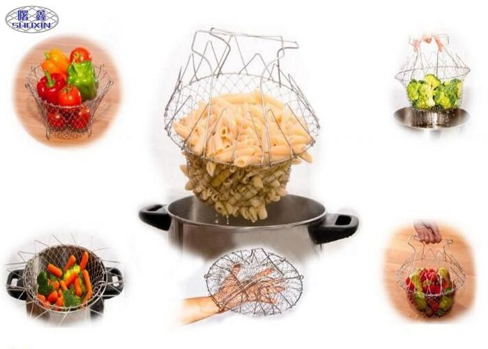 Stainless Steel Foldable Chef Basket Kitchen Steam Rinse Flexible Strainer
